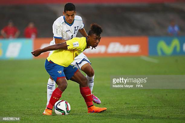 Victor Matamoros of Honduras defends Yeison Guerrero of Ecuador during the FIFA U17 Men's World Cup Chile 2015 group D match between Honduras and...