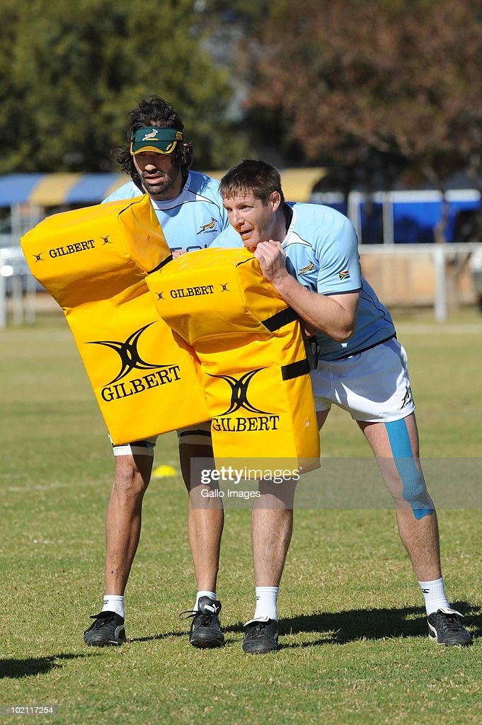 Victor Matfield and Bakkies Botha during the Springbok training session on 15 June 2010, at the Warren Township High School (WTHS) in Witbank, South Africa.