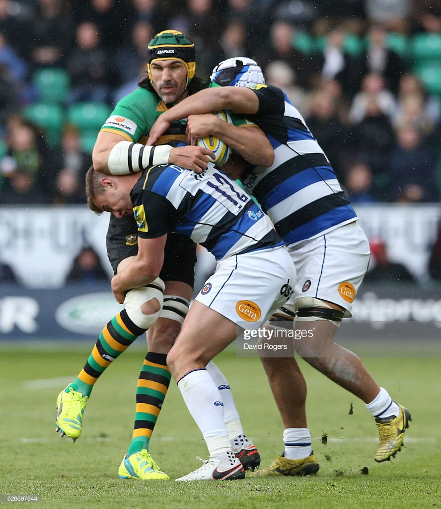 Northampton Saints V Bath Rugby: Victor Matfield Of Northampton Is Tackled During The Aviva