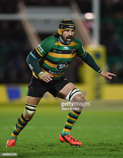 Victor Matfield of Northampton Saints during the Aviva Premiership match between Northampton Saints and Gloucester Rugby at Franklin's Gardens on...