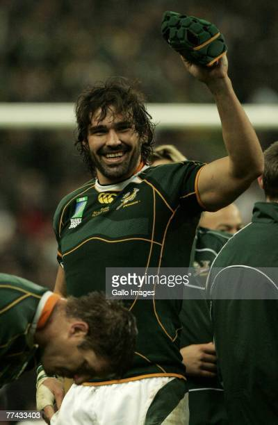 Victor Matfield of South Africa celebrates winning the IRB 2007 Rugby World Cup final match between South Africa and England with a score of 615 at...