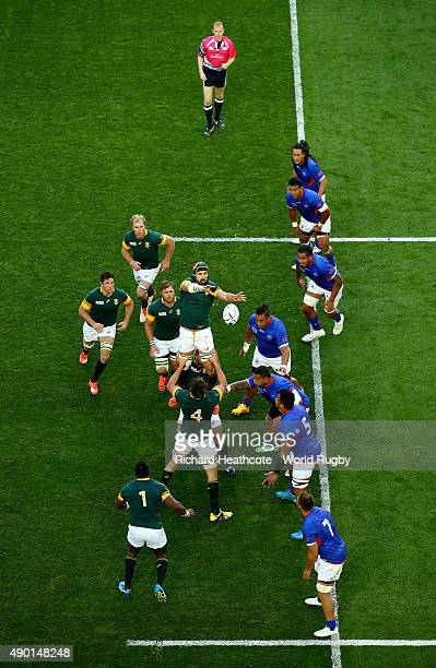 Victor Matfield of South Africa claims a line out during the 2015 Rugby World Cup Pool B match between South Africa and Samoa at Villa Park on...