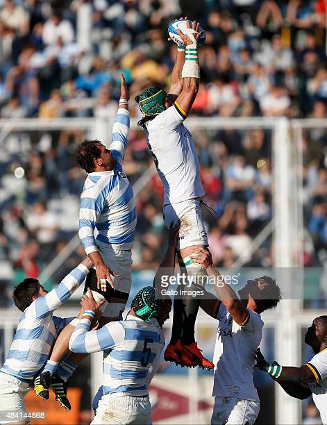 Victor Matfield of South Africa receives a line out during the International Test match between Argentina and South Africa at José Amalfitani Stadium...