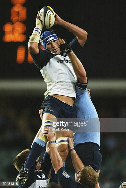 Victor Matfield of the Bulls wins the ball in the lineout during the Super 12 match between the Waratahs and the Bulls at Aussie Stadium on March 26...
