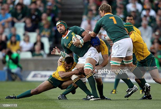 Victor Matfield of the Springboks is tackled by Will Genia and Nathan Sharpe during the 2010 TriNations match between the South African Springboks...