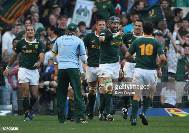 Victor Matfield, the South Africa lock celerbates after scoring a try during the Tri Nations match between the South Africa Springboks and the...