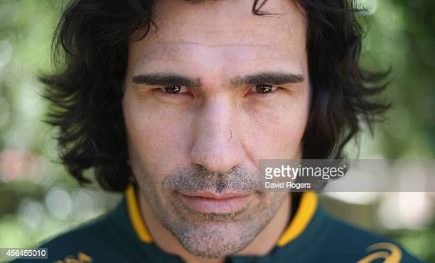 Victor Matfield, the Springbok lock, poses for a portrait after the South African Springboks media conference held at the Palazzo Hotel on October 1,...