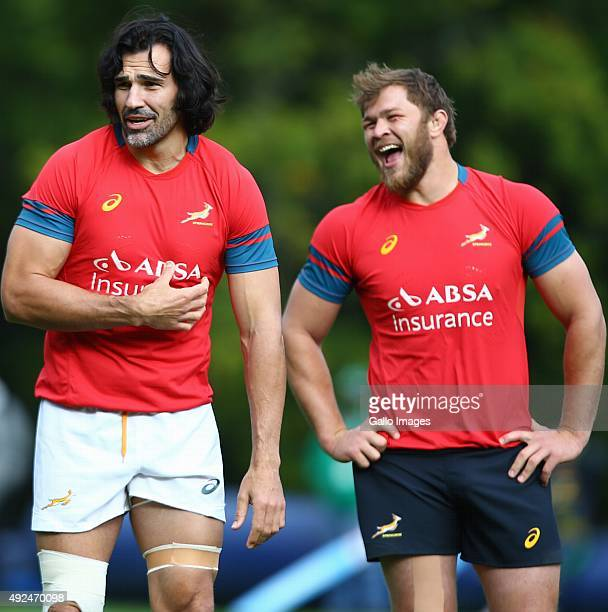 Victor Matfield with Duane Vermeulen during the South African national rugby team training session at Pennyhill Park on October 13 2015 in London...