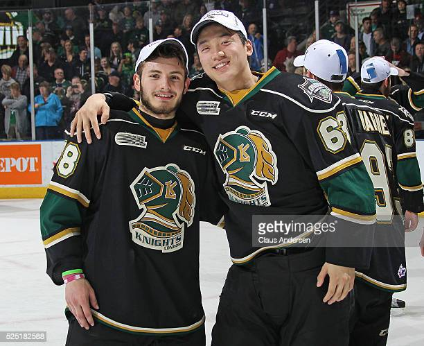 Victor Mete and Cliff Pu of the London Knights celebrate victory against the Erie Otters in the OHL Western Conference Final on April 27 2016 at...