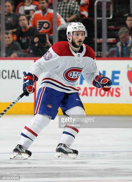 Victor Mete of the Montreal Canadiens skates against the Philadelphia Flyers on February 20 2018 at the Wells Fargo Center in Philadelphia...