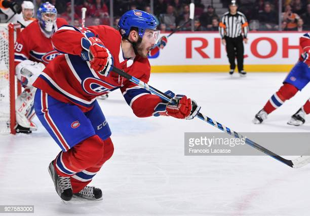 Victor Mete of the Montreal Canadiens skates against the Philadelphia Flyers in the NHL game at the Bell Centre on February 26 2018 in Montreal...