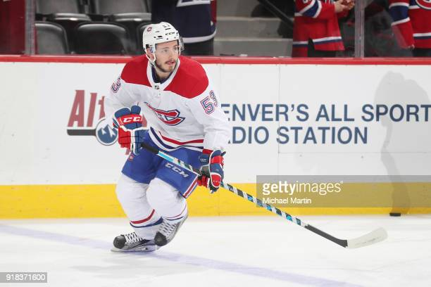 Victor Mete of the Montreal Canadiens skates during warm ups prior to the game against the Colorado Avalanche at the Pepsi Center on February 14 2018...