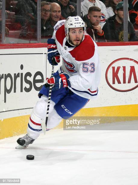 Victor Mete of the Montreal Canadiens skates the puck against the Philadelphia Flyers on February 8 2018 at the Wells Fargo Center in Philadelphia...