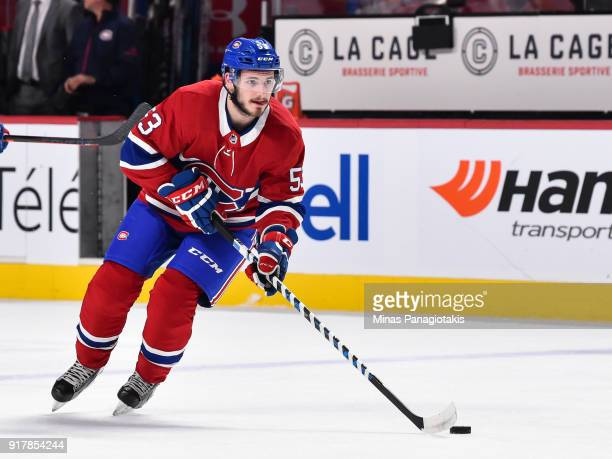 Victor Mete of the Montreal Canadiens skates the puck during the warmup prior to the NHL game against the Nashville Predators at the Bell Centre on...