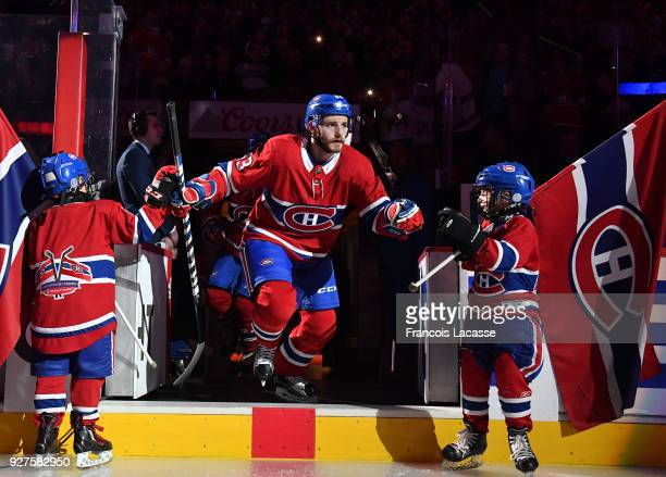 Victor Mete of the Montreal Canadiens takes to the ice prior the NHL against the Philadelphia Flyers at the Bell Centre on February 26 2018 in...