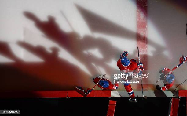 Victor Mete of the Montreal Canadiens takes to the ice prior the NHL game against the New York Islanders at the Bell Centre on February 28 2018 in...