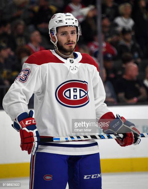 Victor Mete of the Montreal Canadiens waits for a faceoff in the second period of a game against the Vegas Golden Knights at TMobile Arena on...
