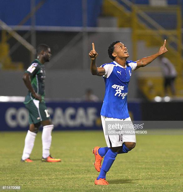Victor Moncada of Honduras Progreso celebrates a goal against W Connection of Trinidad and Tobago during their CONCACAF Champions League football...