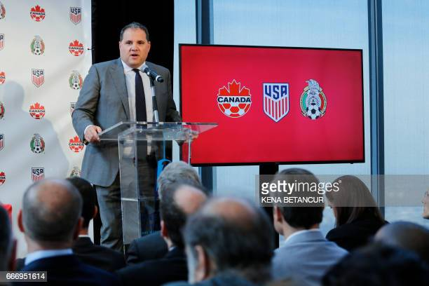 Victor Montagliani CONCACAF President speaks during a press conference announcing the next soccer 2026 World Cup in North America on April 10 2017 at...