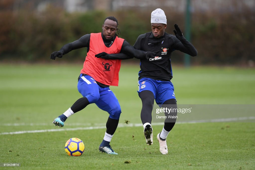 Victor Moses and Callum Hudson Odoi of Chelsea during a training session at Chelsea Training Ground on February 2, 2018 in Cobham, England.