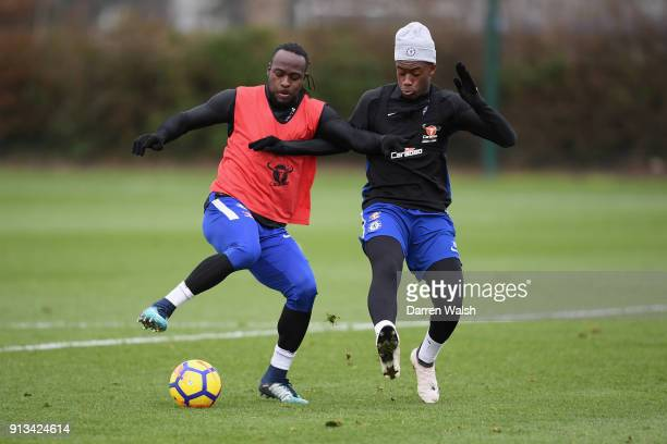 Victor Moses and Callum Hudson Odoi of Chelsea during a training session at Chelsea Training Ground on February 2 2018 in Cobham England