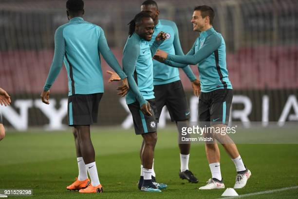 Victor Moses and Cesar Azpilicueta of Chelsea during a training session at Nou Camp on March 13 2018 in Barcelona Spain