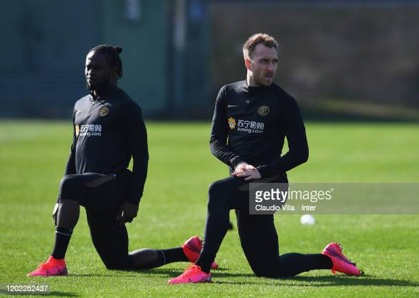 Victor Moses and Christian Eriksen of FC Internazionale in action during FC Internazionale training session at Appiano Gentile on February 21 2020 in...