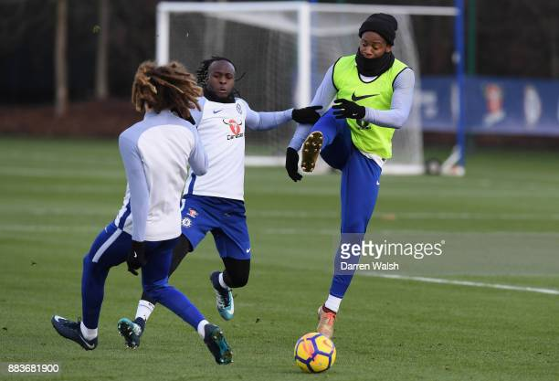 Victor Moses and Michy Batshuayi of Chelsea during a training session at Chelsea Training Ground on December 1 2017 in Cobham England