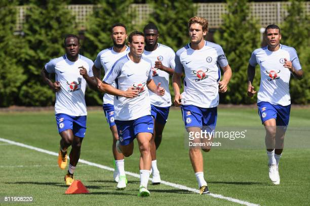 Victor Moses Lewis Baker Cesar Azpilicueta Fikayo Tomori Marcos Alonso and Kenedy of Chelsea during a training session at Chelsea Training Ground on...