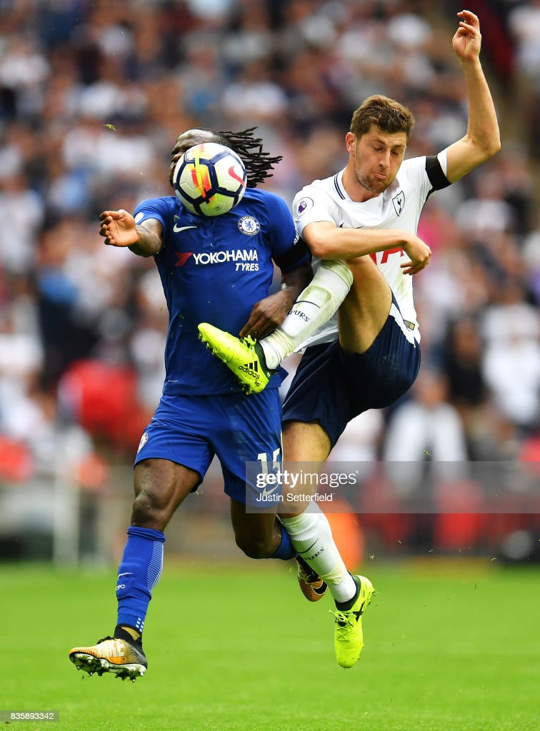 Victor Moses of Chelsea and Ben Davies of Tottenham Hotspur battle for possession during the Premier League match between Tottenham Hotspur and Chelsea at Wembley Stadium on August 20, 2017 in London, England.