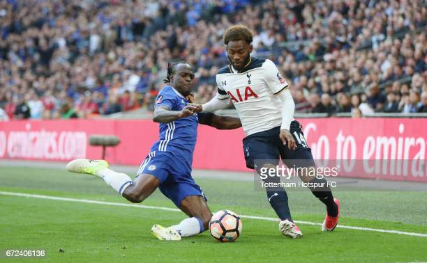 Victor Moses of Chelsea and Georges-Kévin N'Koudou of Tottenham during the Emirates FA Cup Semi-Final match between Tottenham Hotspur and Chelsea at...