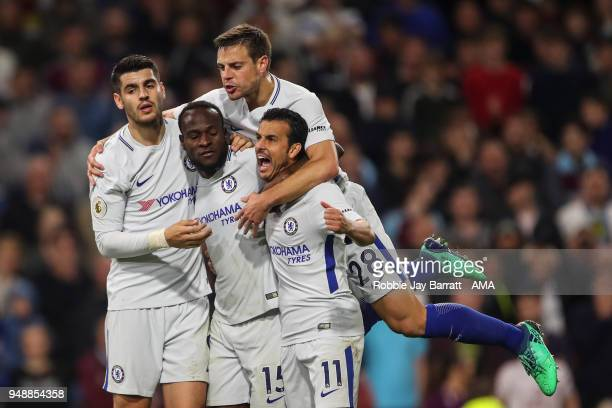 Victor Moses of Chelsea celebrates after scoring a goal to make it 12 during the Premier League match between Burnley and Chelsea at Turf Moor on...