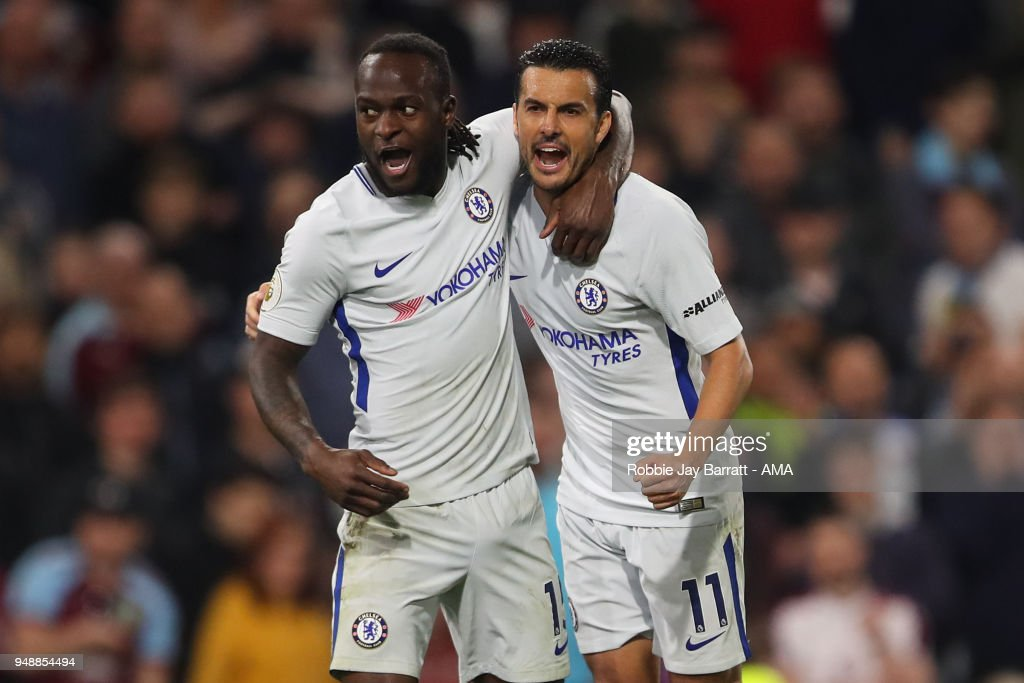 Victor Moses of Chelsea celebrates after scoring a goal to make it 1-2 during the Premier League match between Burnley and Chelsea at Turf Moor on April 19, 2018 in Burnley, England.
