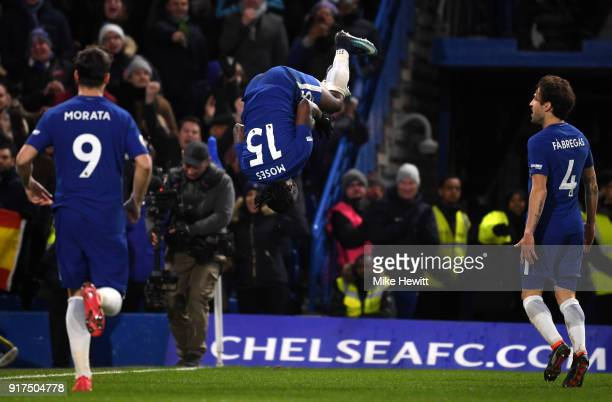 Victor Moses of Chelsea celebrates after scoring his sides second goal during the Premier League match between Chelsea and West Bromwich Albion at...