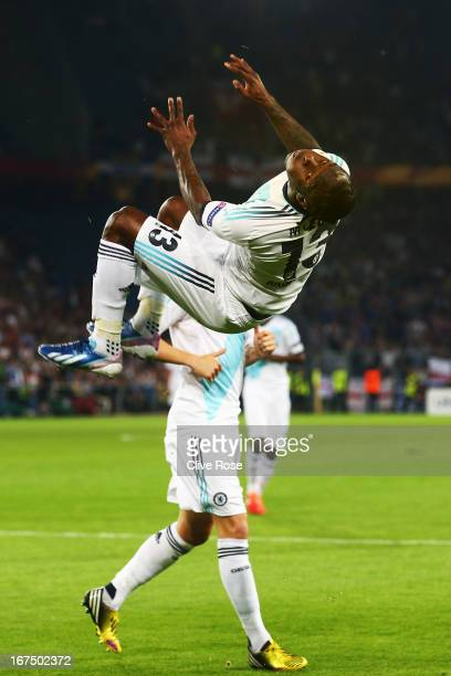 Victor Moses of Chelsea celebrates scoring during the UEFA Europa League Semi Final First Leg match between FC Basel 1893 and Chelsea at St. Jakob...