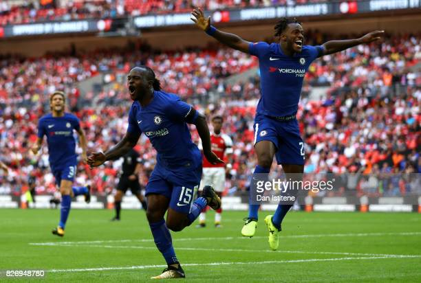 Victor Moses of Chelsea celebrates scoring his sides first goal with Michy Batshuayi of Chelsea during the The FA Community Shield final between...