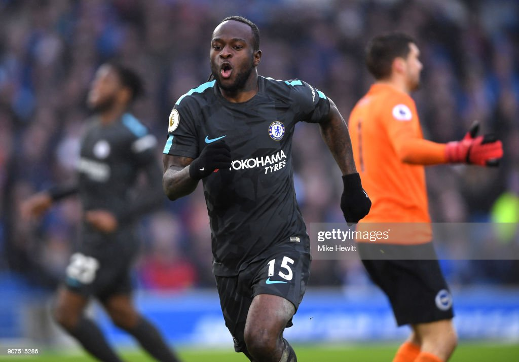 Victor Moses of Chelsea celebrates scoring his side's fourth goal during the Premier League match between Brighton and Hove Albion and Chelsea at Amex Stadium on January 20, 2018 in Brighton, England.