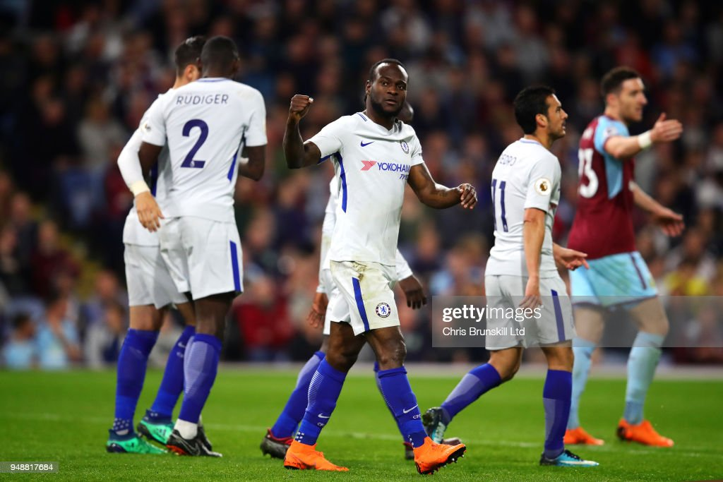 Victor Moses of Chelsea celebrates scoring his side's second goal during the Premier League match between Burnley and Chelsea at Turf Moor on April 19, 2018 in Burnley, England.