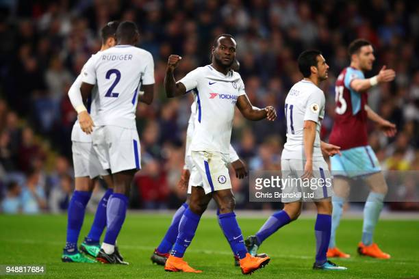 Victor Moses of Chelsea celebrates scoring his side's second goal during the Premier League match between Burnley and Chelsea at Turf Moor on April...
