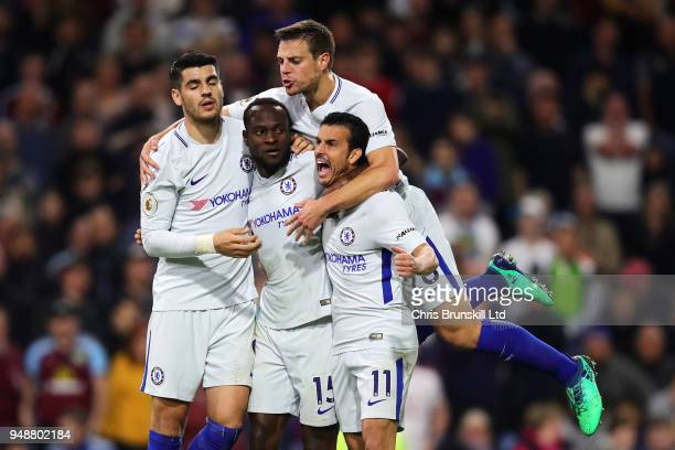 Victor Moses of Chelsea celebrates scoring his side's second goal with teammates Alvaro Morata Pedro and Cesar Azpilicueta during the Premier League...