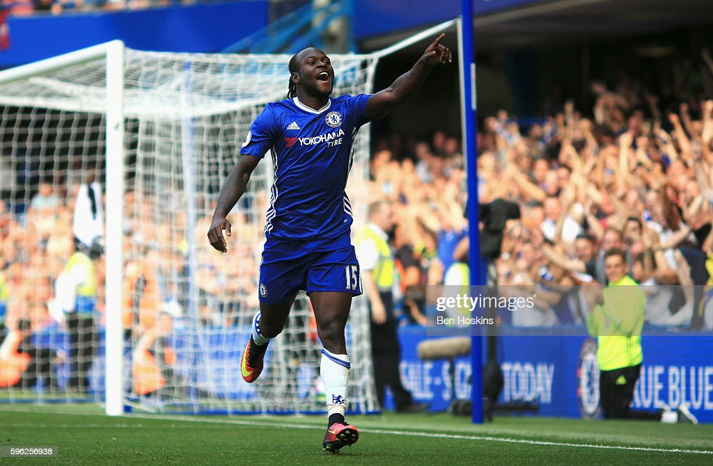 Victor Moses of Chelsea celebrates scoring his sides third goal during the Premier League match between Chelsea and Burnley at Stamford Bridge on August 27, 2016 in London, England.