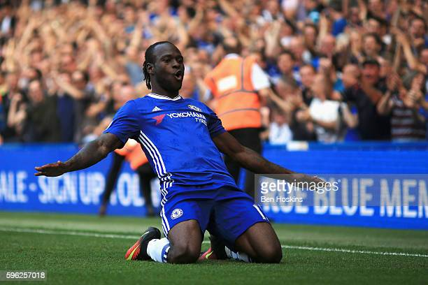 Victor Moses of Chelsea celebrates scoring his sides third goal during the Premier League match between Chelsea and Burnley at Stamford Bridge on...