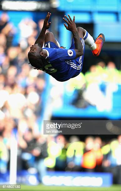 Victor Moses of Chelsea celebrates scoring his sides third goal during the Premier League match between Chelsea and Leicester City at Stamford Bridge...