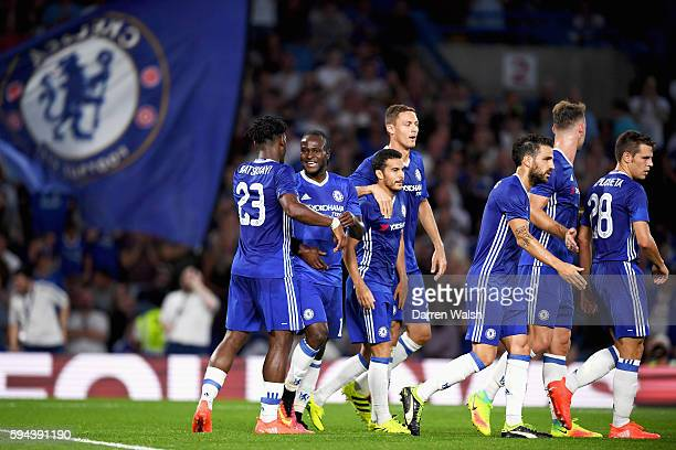 Victor Moses of Chelsea celebrates scoring his team's second goal with Michy Batshuayi during the EFL Cup second round match between Chelsea and...