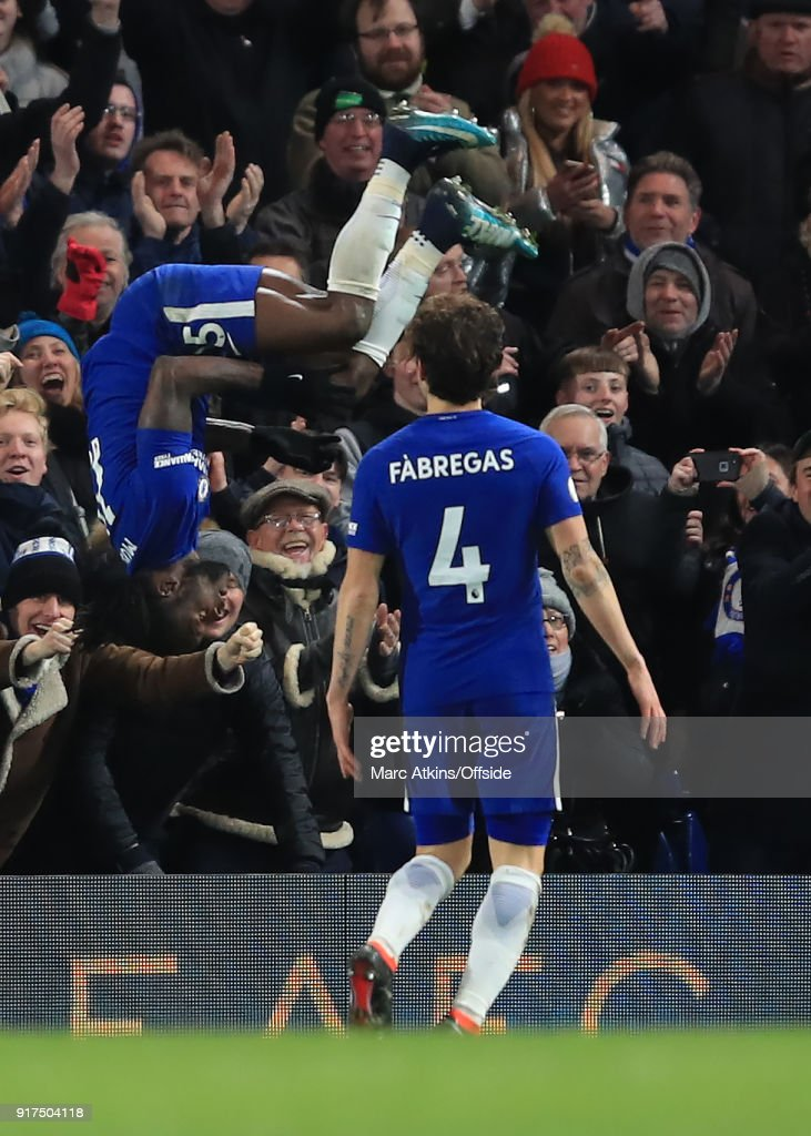 Victor Moses of Chelsea celebrates scoring their 2nd goal as Cesc Fabregas looks on during the Premier League match between Chelsea and West Bromwich Albion at Stamford Bridge on February 12, 2018 in London, England.