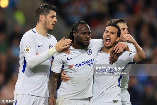 Victor Moses of Chelsea celebrates with teammates Alvaro Morata Cesar Azpilicueta and Pedro after scoring their 2nd goal during the Premier League...