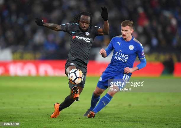 Victor Moses of Chelsea controls the ball from Marc Albrighton of Leicester City during The Emirates FA Cup Quarter Final match between Leicester...