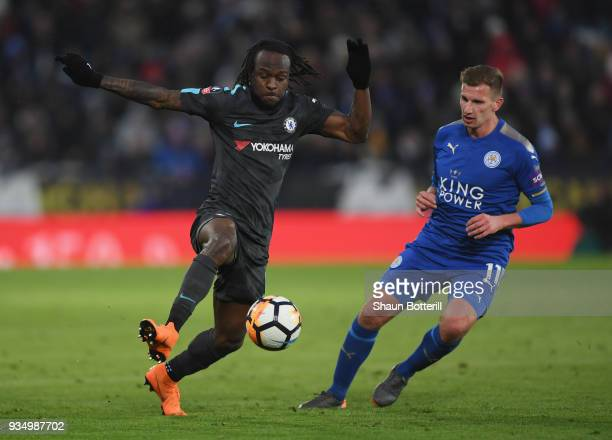 Victor Moses of Chelsea controls the ball from Marc Albrighton of Leicester City during the the Emirates FA Cup Quarter Final match between Leicester...