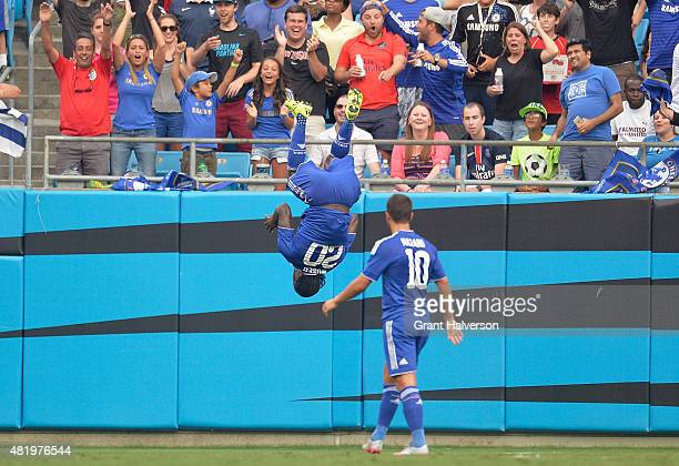 Victor Moses of Chelsea does a flip after scoring a goal against the Paris SaintGermain during their International Champions Cup match at Bank of...