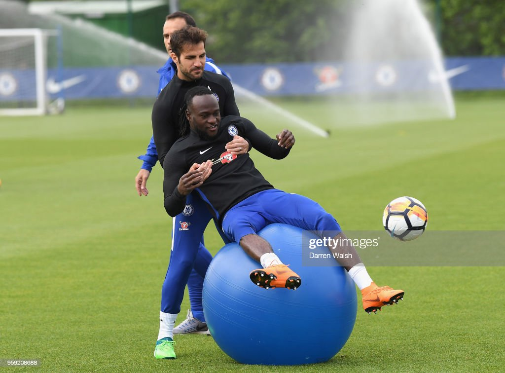Victor Moses of Chelsea during a Strength and Conditioning training session at Chelsea Training Ground on May 16, 2018 in Cobham, England.